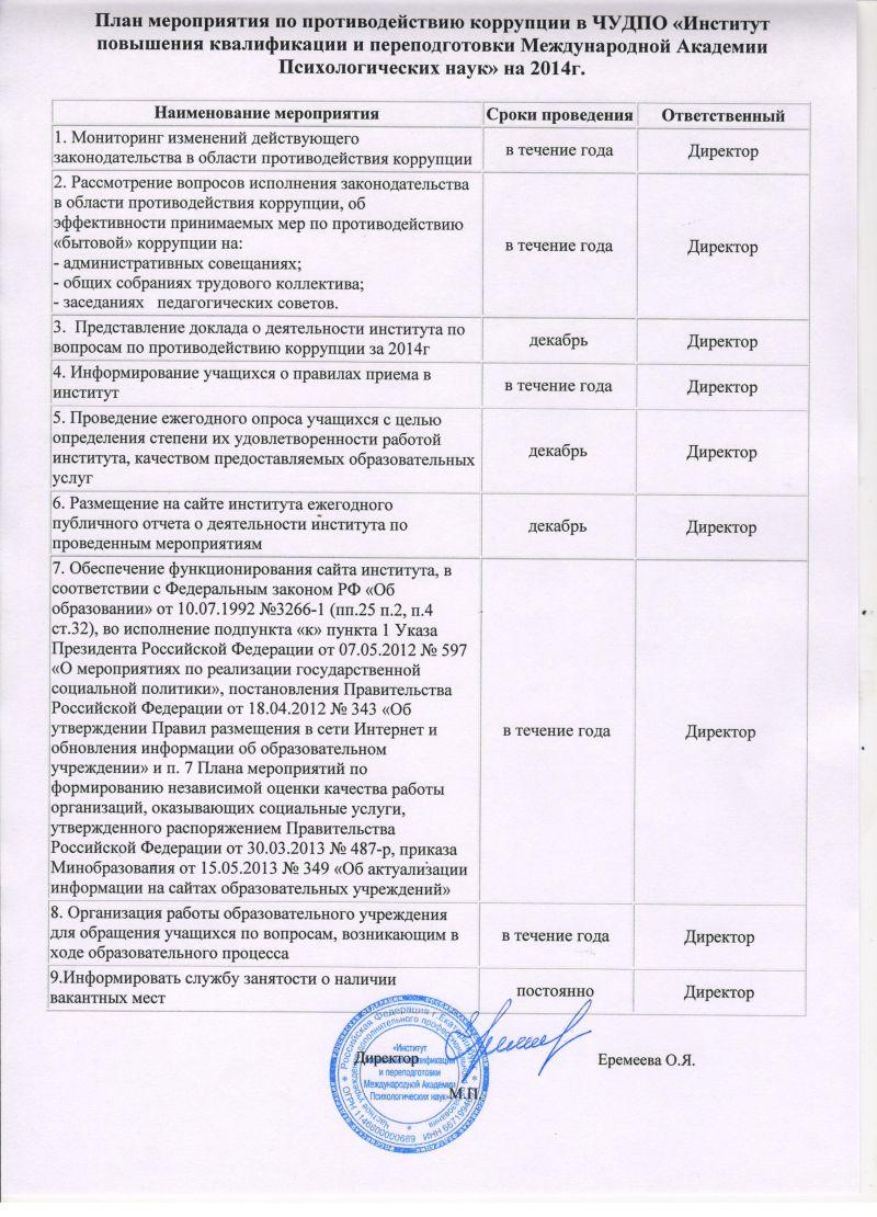 План мероприятий 2014